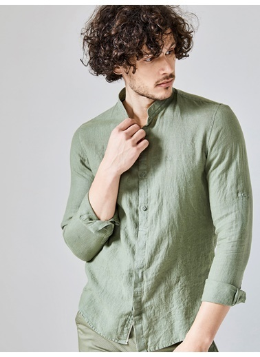 Xint Hakim Yaka Uzun Kollu Gömlek Yeşil